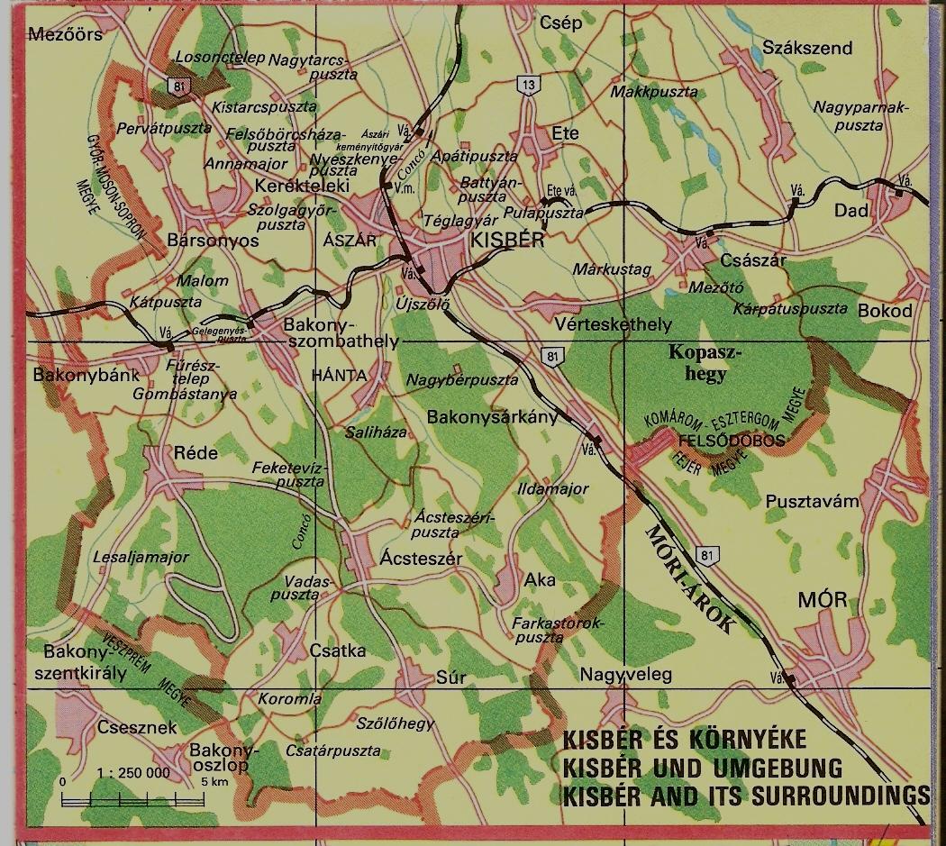 kisbér térkép Kisbér és környéke térkép | .kisberikronika.hu kisbér térkép